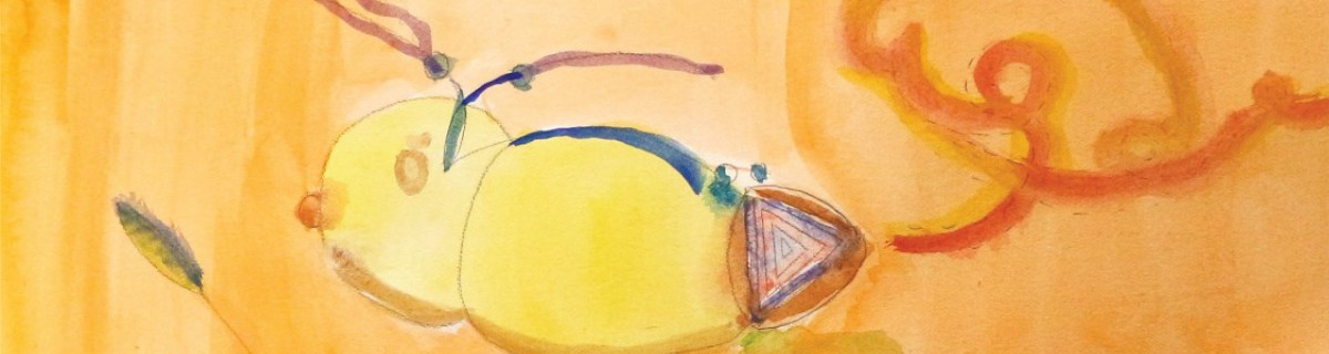 bright yellow child drawn watercolor of a bee with a vibrant orange background